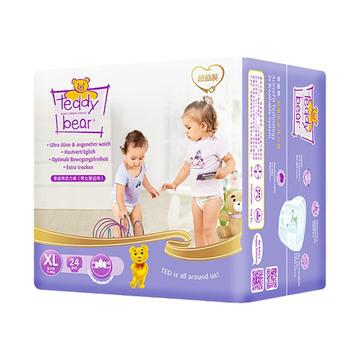 泰迪熊 超薄乐动活力裤XL 24片/包  透气超薄 婴儿尿不湿