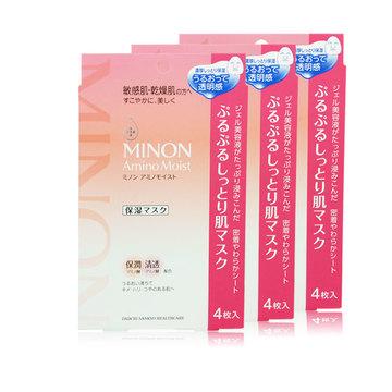 【3盒装】【易敏干燥肌救星】日本MINON蜜浓进口氨基酸补水保湿面膜敏感肌孕妇面膜4片