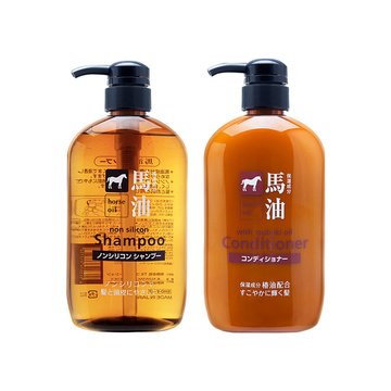 【1000ml*2大包装至纯马油洗发】咖思美熊野油脂马油洗护套装日本进口弱酸性蓬松