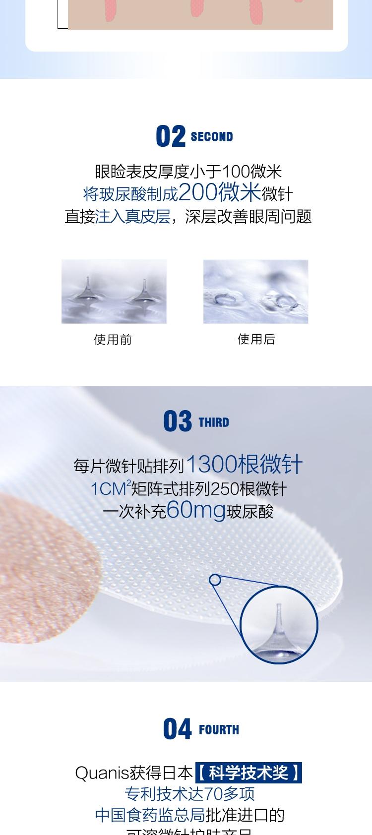 【买1赠1】Quanis克奥妮斯玻尿酸微针眼贴1300针(6对装)限时赠价值318元宠爱之名面膜一盒