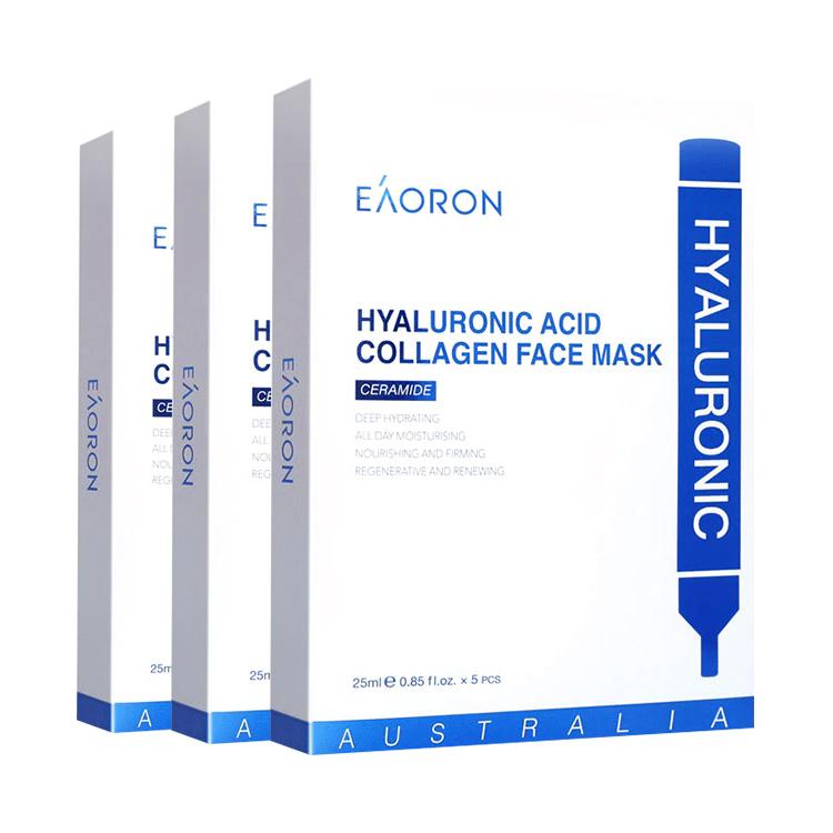 【3盒】【温和补水 提亮肤色】澳洲 EAORON 玻尿酸胶原蛋白保湿面膜 5片装*3盒