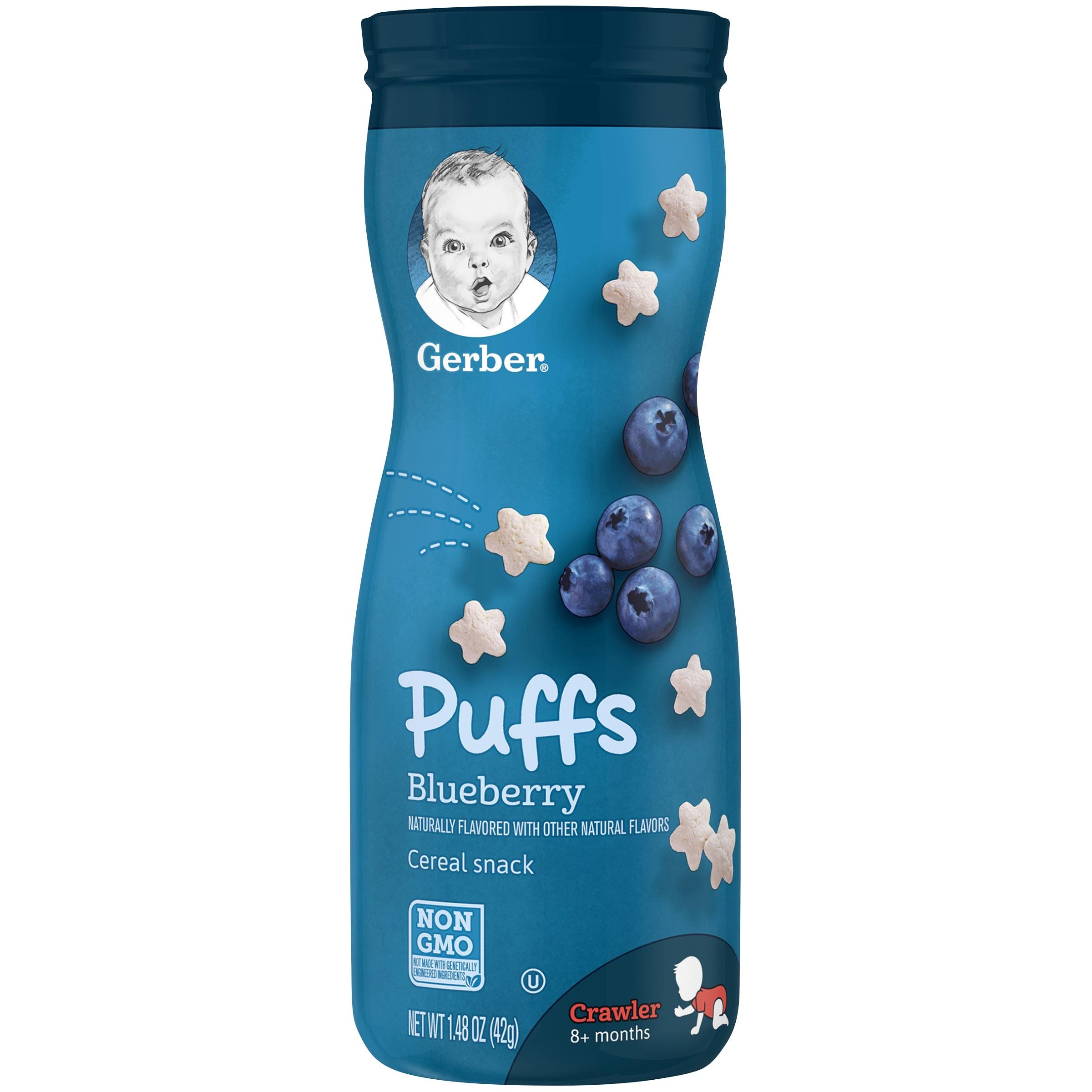 【6瓶装】【包邮】Gerber海外嘉宝 原装进口3段 婴幼儿辅食 蓝莓口味星星泡芙42g/罐