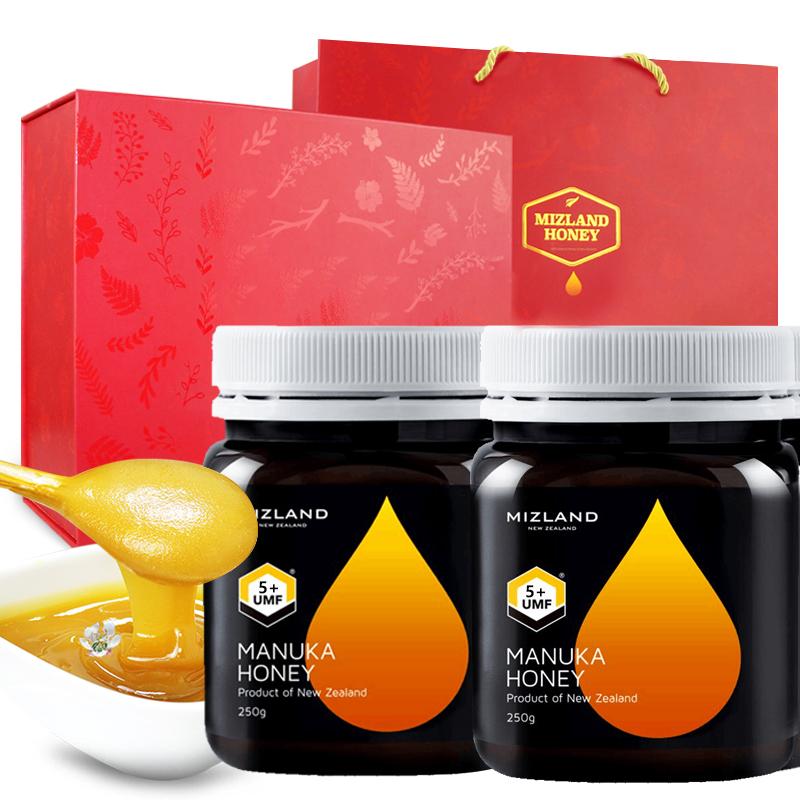 【麦卢卡蜂蜜5+250g*2瓶礼盒装】mizland蜜滋兰 新西兰麦卢卡蜂蜜5+