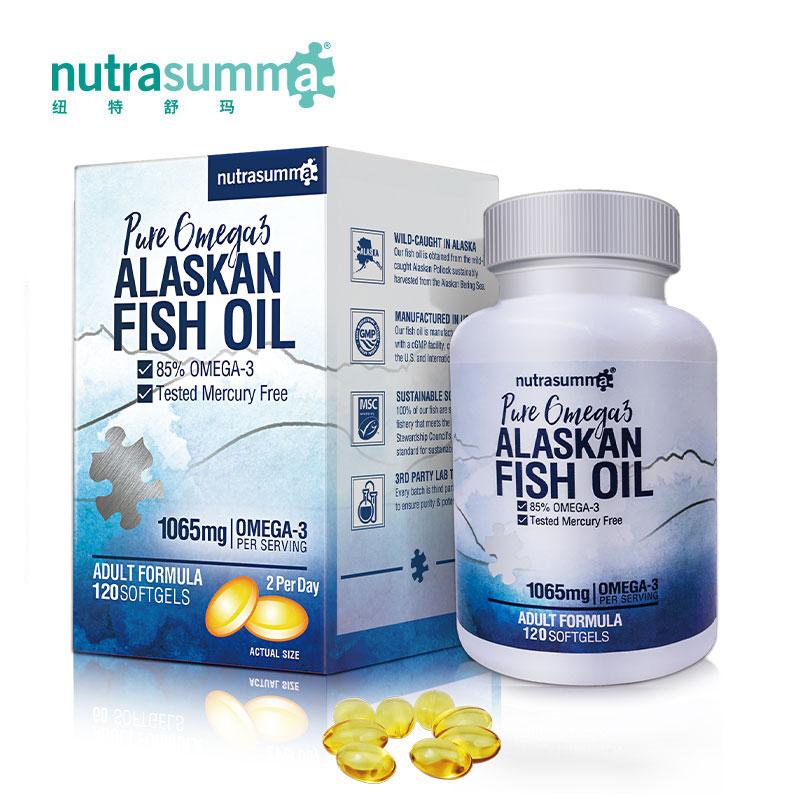 【2件8折】纽特舒玛成人阿拉斯加深海鱼油软胶囊 欧米伽-3 120粒/瓶
