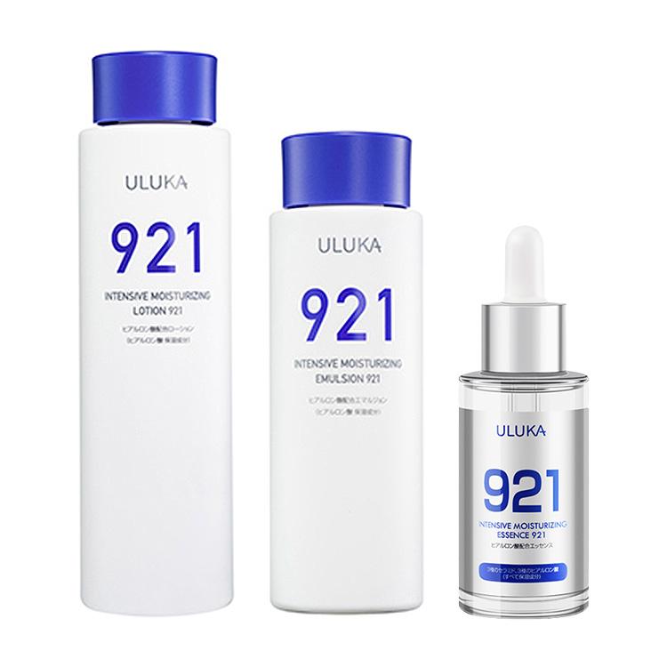 ULUKA集中浸润水乳921套装200ml+150ml柔嫩修护保湿补水+小蓝瓶玻尿酸精华液酵母921