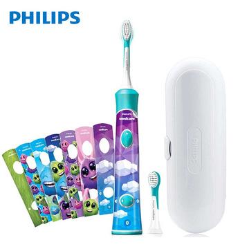飞利浦PHILIPS儿童电动牙刷HX6322儿童牙刷充电式声波震动牙刷