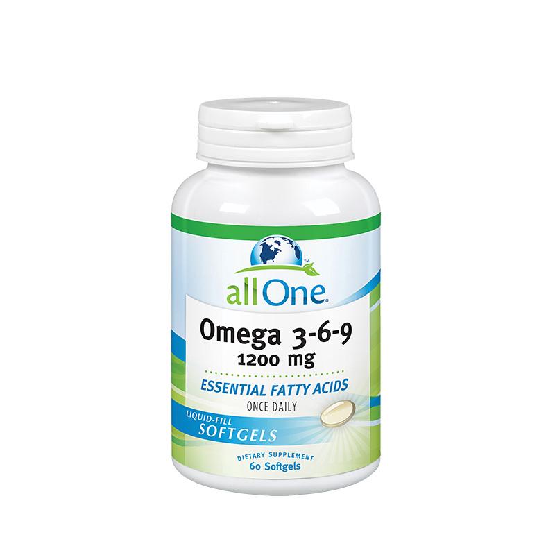 【呵护心脑健康】美国全效all one欧米伽3-6-9型深海野生鱼油软胶囊 60粒