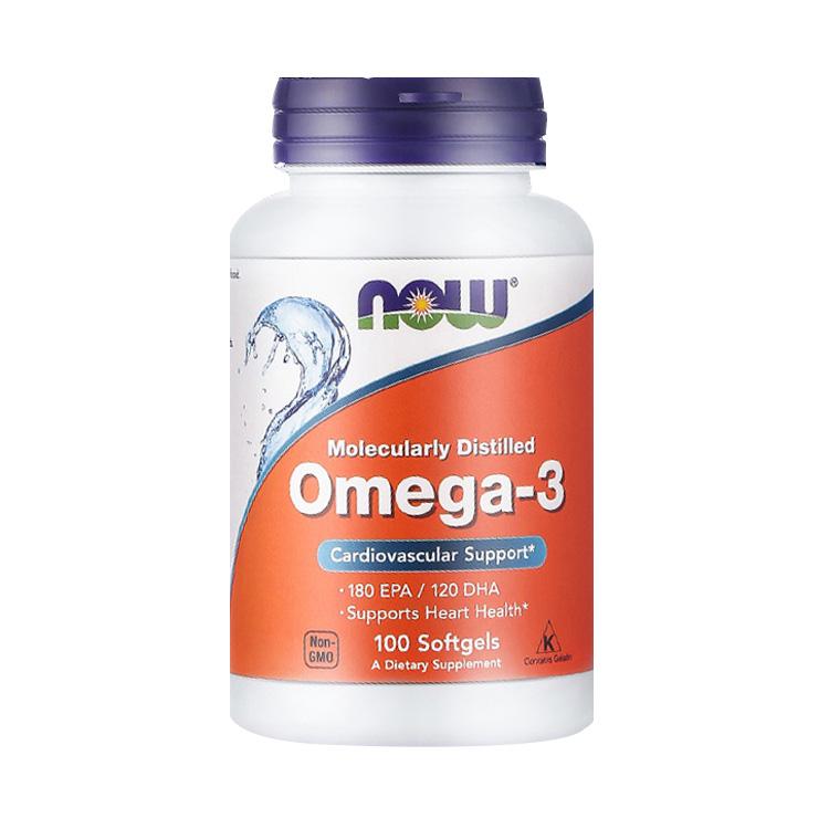 【辅助降血脂 稳血压】NOW 诺奥 Omega-3深海鱼油胶囊 1000mg*100粒