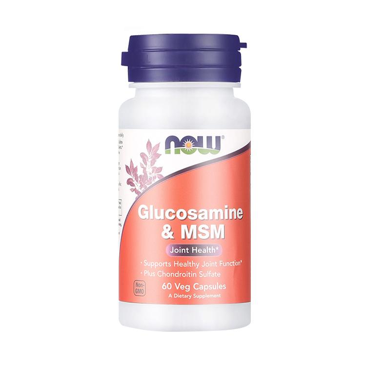 【三效合一 助力关节】NOW 诺奥 氨基葡萄糖二甲基砜胶囊 60粒/瓶 氨糖维骨力软