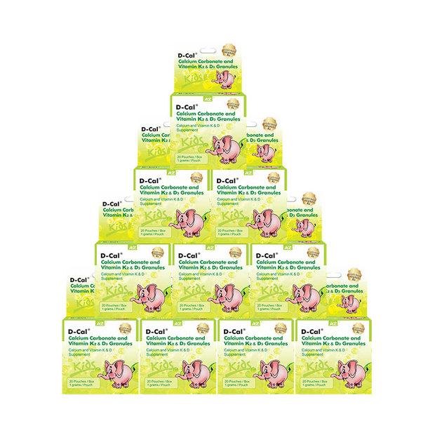 【特惠10盒装】美国进口D-cal迪巧 小儿碳酸钙D3颗粒剂升级版 20袋/盒 添加K2金标迪巧