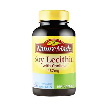 【调节脂肪肝 鱼油好搭档】美国 Nature Made 天维美 大豆卵磷脂胶囊 220粒