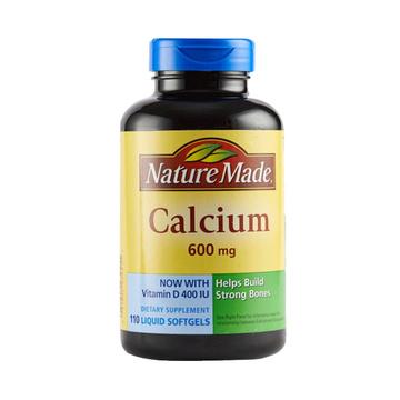 【补钙强健骨骼】美国 Nature Made 天维美 钙+维生素D液体软胶囊600mg 110粒/瓶