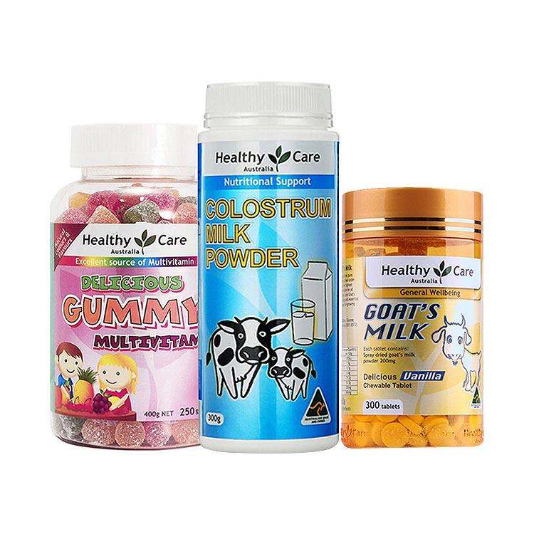 澳洲HealthyCare最强宝贝 牛初乳粉+羊奶片+维生素软糖