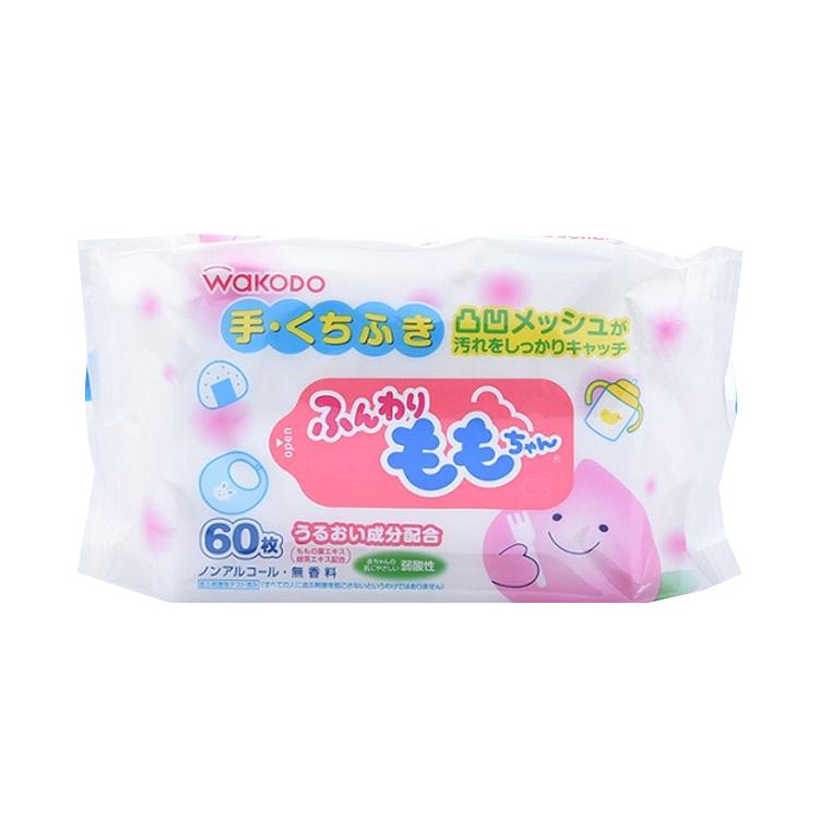 【无酒精无香料】WAKODO 和光堂 可爱蓬蓬桃桃叶精华婴儿手口湿巾 180片(60片×3包)