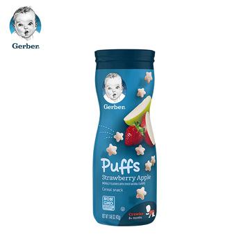 【6罐装】美国Gerber嘉宝星星泡芙 42g3段(8个月以上)草莓苹果味42g 宝宝婴幼儿辅食