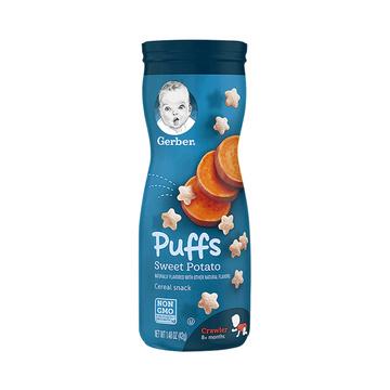 【6罐装】美国Gerber嘉宝星星泡芙3段(8个月以上)42g 甜薯味宝宝零食 婴幼儿辅食