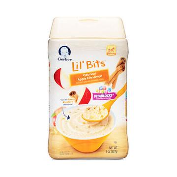 【看得见的水果粒】Gerber 嘉宝 婴幼儿苹果肉桂谷物燕麦米粉 3段8个月以上 227g/罐