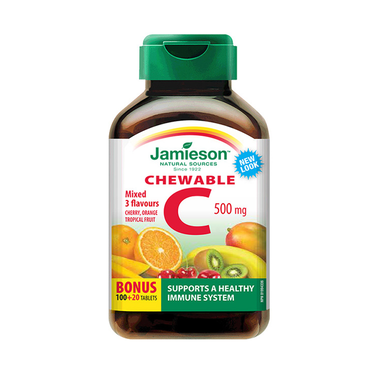【多种果味VC】加拿大Jamieson健美生维生素C复合咀嚼片-混合水果味 120片