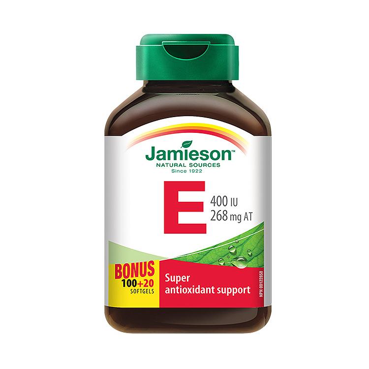 【肌肤软黄金】加拿大Jamieson健美生天然维生素E软胶囊 120粒