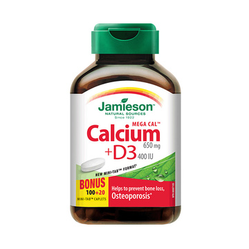 【强健骨骼牙齿】加拿大Jamieson健美生钙和维生素D3复合片(超值装) 120片