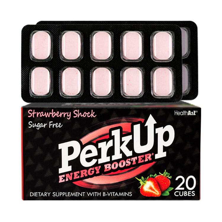 【无糖0卡 一片提神 】HealthA2Z PerkUp 沛咖天然绿咖啡豆提取物提神含片20粒草莓味