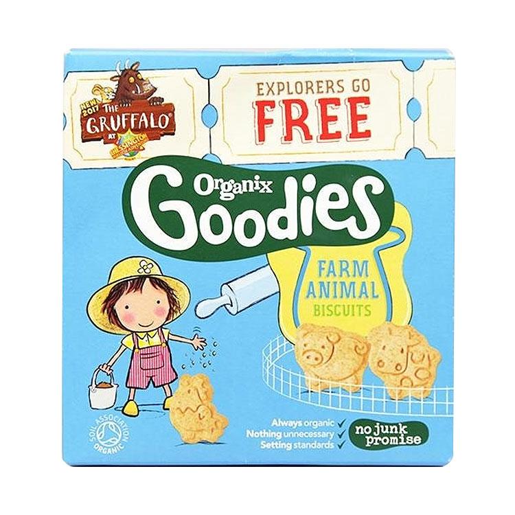 【宝宝喜欢的动物形状饼干】4件装   Organix欧格妮好食农场动物饼干 100g/袋