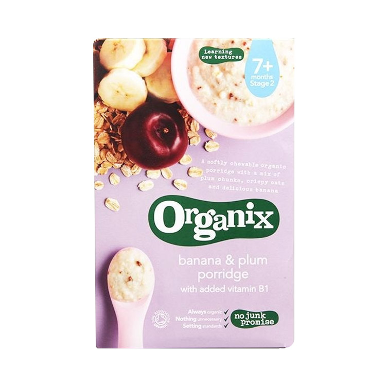 【好吸收易消化】4件装   Organix欧格妮香蕉李子米糊 200g/袋