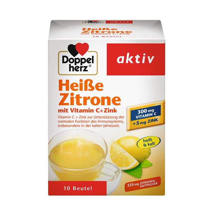 【补充vc 美白肌肤】德国双心Doppelherz热柠檬维生素C加锌营养冲剂 10包/盒