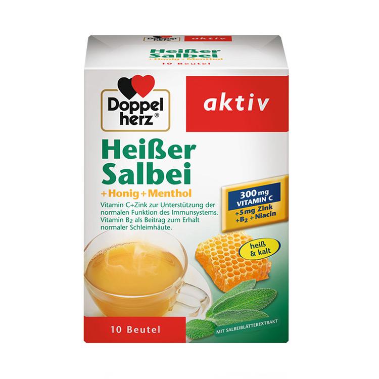 【补充vc 调养气色】德国双心Doppelherz鼠尾草加蜂蜜薄荷维生素C养生营养冲剂10包
