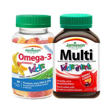 【均衡营养】jamieson健美生儿童鱼油软糖及矿物质组合 60粒+60片