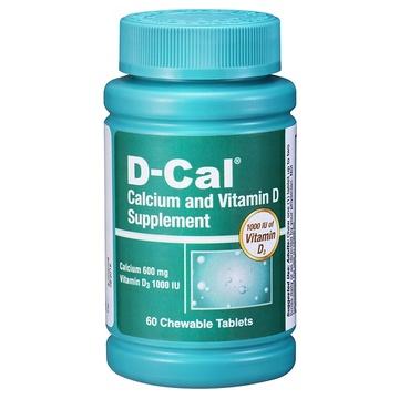 【加强版美版迪巧钙片】D-Cal 维D钙咀嚼片水果味60片(每片含钙600mg)成人孕妇中老年补钙