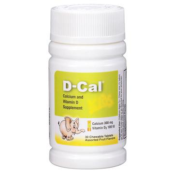 【美版迪巧儿童钙片】D-Cal 维D钙咀嚼片水果味30片 儿童青少年缺钙补钙 三种水果味