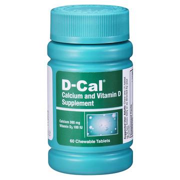 【美版迪巧成人钙片】D-Cal 维D钙咀嚼片水果味60片 成人孕妇中老年缺钙补钙 无糖配方