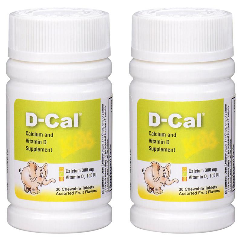 【限时2件9折 3件8折】2瓶美版迪巧儿童钙片D-Cal 维D钙咀嚼片30片 儿童青少年缺钙补钙