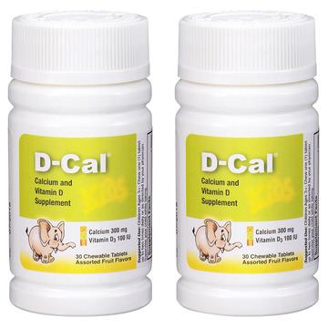 【2瓶】美版迪巧儿童钙片D-Cal 维D钙咀嚼片30片 儿童青少年缺钙补钙 三种水果味