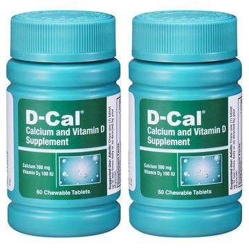 【2瓶特惠美版迪巧成人钙片】D-Cal 维D钙咀嚼片水果味60片 成人孕妇中老年缺钙补钙 无糖配方