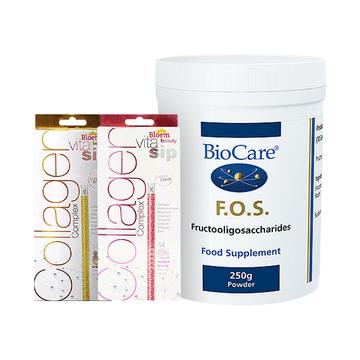 【清毒养颜】Biocare低聚果糖粉250克/瓶+Bloem维他唏复合维C胶原蛋白吸管14支/盒*2
