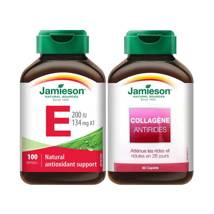 【肌肤软黄金】加拿大Jamieson健美生天然维生素E软胶囊120粒+【逆转肌龄】胶原蛋白片-60片