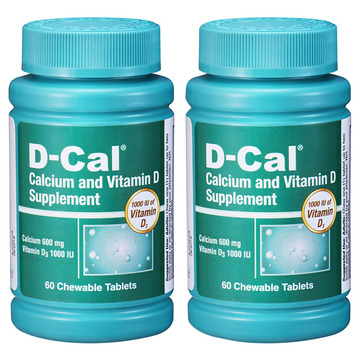 【2瓶加强版美版迪巧】D-Cal 维D钙咀嚼片水果味60片(每片含钙600mg)成人孕妇中老年补钙