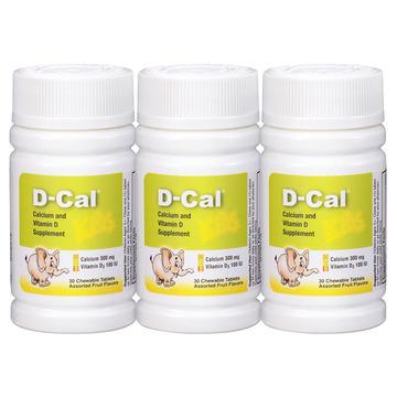 【3瓶】美版迪巧儿童钙片D-Cal 维D钙咀嚼片30片 儿童青少年缺钙补钙 三种水果味