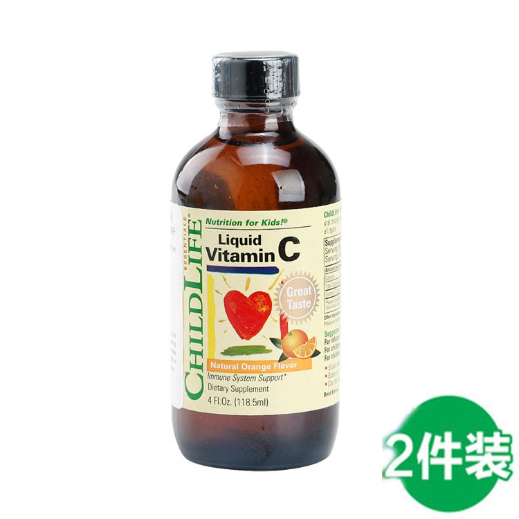 【维生素C|抗感冒 身体棒】美国童年时光Childlife 维生素C2018注册送白菜网站液 118.5ml -2瓶装