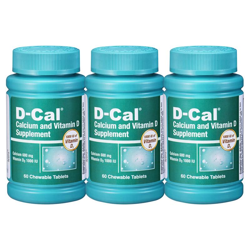 【年终狂欢1件8折2件7折】3瓶装 美版迪巧成人钙D-Cal 维D钙咀嚼片水果味60片*600mg