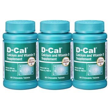 【3瓶加强版】美版迪巧成人钙片D-Cal 维D钙咀嚼片水果味60片(每片含钙600mg)孕妇中老年