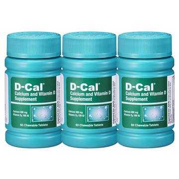 【3瓶】美版迪巧成人钙片D-Cal 维D钙咀嚼片水果味60片 成人孕妇中老年缺钙补钙 无糖配方