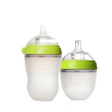 COMOTOMO可么多么防胀气宽口硅胶奶瓶绿色 250ML + 绿色 150ML组合套装