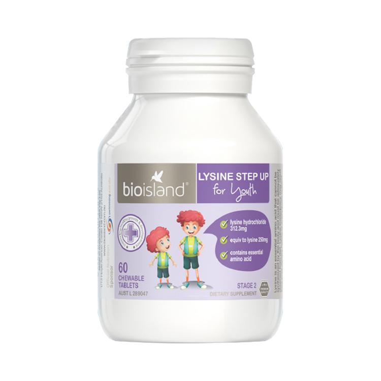 【限时领券298-100】澳洲Bio Island佰澳朗德 赖氨酸助长素二段(6岁及以上)60粒