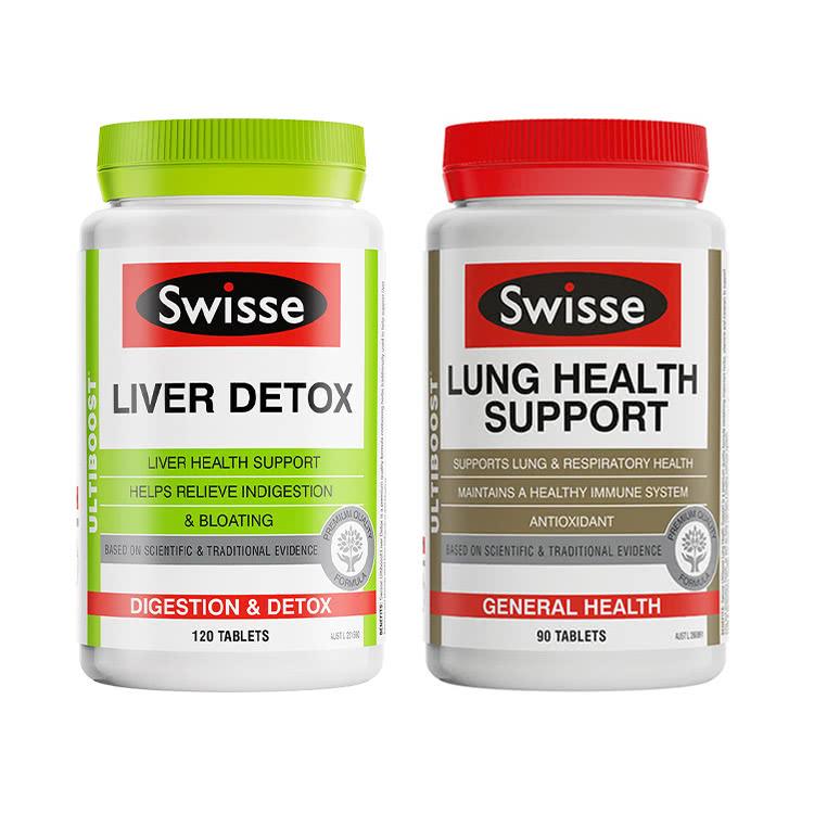 【護肝清肺】澳洲Swisse護肝片120粒/瓶+清肺片草本復合維生素90片
