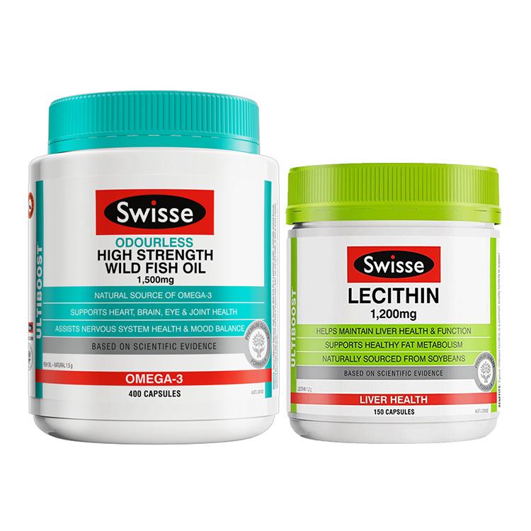 【心脑保健】Swisse无腥味深海鱼油400粒+大豆卵磷脂软胶囊 150粒