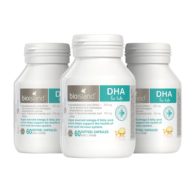 [3瓶装]澳洲Bio Island佰澳朗德天然海藻油婴幼儿DHA 60粒/瓶